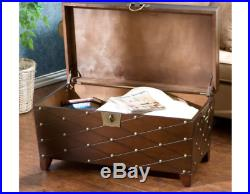 New Vintage Style Coffee Table Living Room Furniture Storage Trunk Wooden Shelf