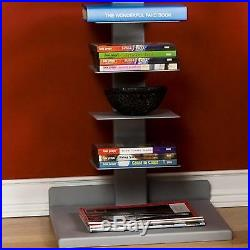 Open Book Shelf Wall Spine Tower Bookcase Vertical Media Storage Display Shelves