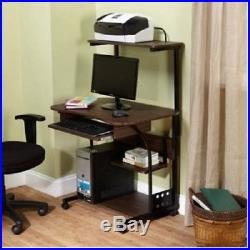 Rolling Desk Table Mobile Computer Tower Home Office Storage Shelf