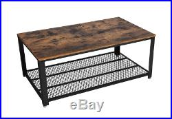 Rustic Wood Coffee Table with Shelf Storage Industrial Metal Frame Farmhouse New