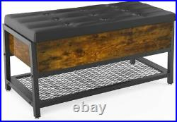 Shoe Bench with Storage Space Organizer Bed End Stool Padded Seat Metal Shelf