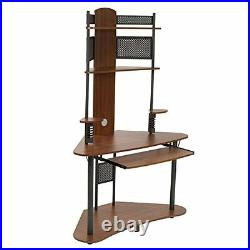 Small Corner Computer Desk Tower Hutch Wood Storage Shelves Student Home Office