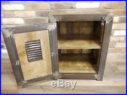 Small Industrial Wooden Storage Cabinet Bedside Cupboard Metal Shelving Unit New