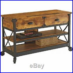 Sofa Table Industrial Rustic TV Console Stand with Wheels Storage Drawers Shelf