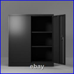 Steel Cabinet Storage With 2 Adjustable Shelves and Lock Door For Home Office