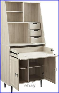 Storage Computer Secretary Desk with Hutch Keyboard Tray Drawers Shelves 2 Doors