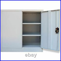 Stratford Small Metal Cabinet 2 Door Storage Office Cupboard 3 Shelves 90cm Tall