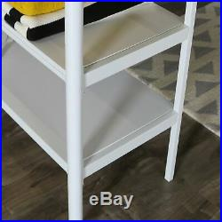 Studio White Durable Metal Twin Loft Bunk Bed Frame with Desk and Storage Shelves