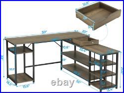 Study Writing Desk Table L Shaped Computer Desk with Storage Shelves & Drawer New