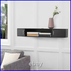 TV Stand Floating Wall Mounted Black Storage Cabinet Shelf Entertainment Center