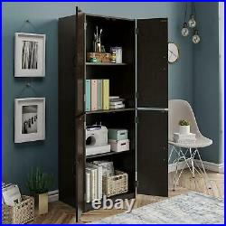 Tall Kitchen Pantry Storage Cabinet Cupboard Home Organizer 4 Doors Wood Shelves