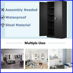Tall Steel Storage Cabinet with4Adjustable Shelves&Lock Garage Tools For Office