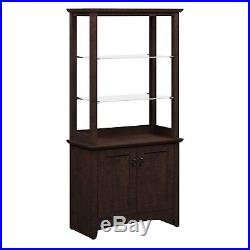 Tall Storage Curio Cabinet Wood Display Case Etagere Cherry 2 Door Glass Shelves