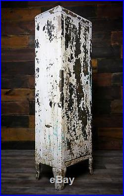 Vintage White Chippy Paint Industrial Metal Storage 4 Shelf Cabinet With Feet Legs