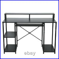 Wood Computer Desk With Monitor Stand And Keyboard Drawer Storage WithShelves Home
