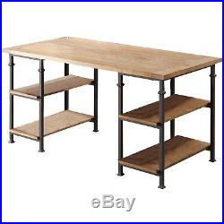 Writing Wood Desk Metal Frame Storage Shelf Home Office Brown Computer Table New